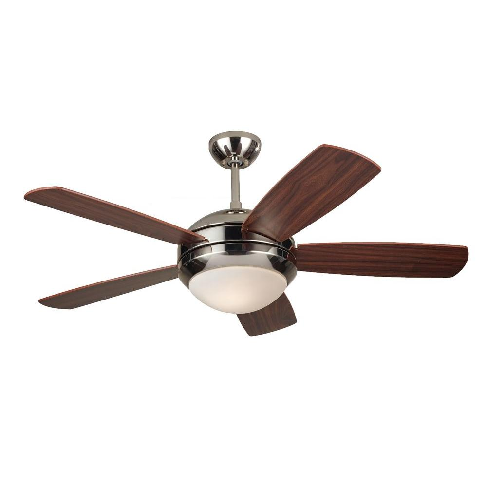Monte Carlo Discus II 44 In Polished Nickel Ceiling Fan With American Walnut Blades