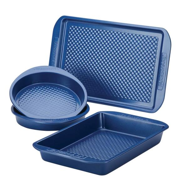 4-Piece Blue Colorvive Nonstick Bakeware Set