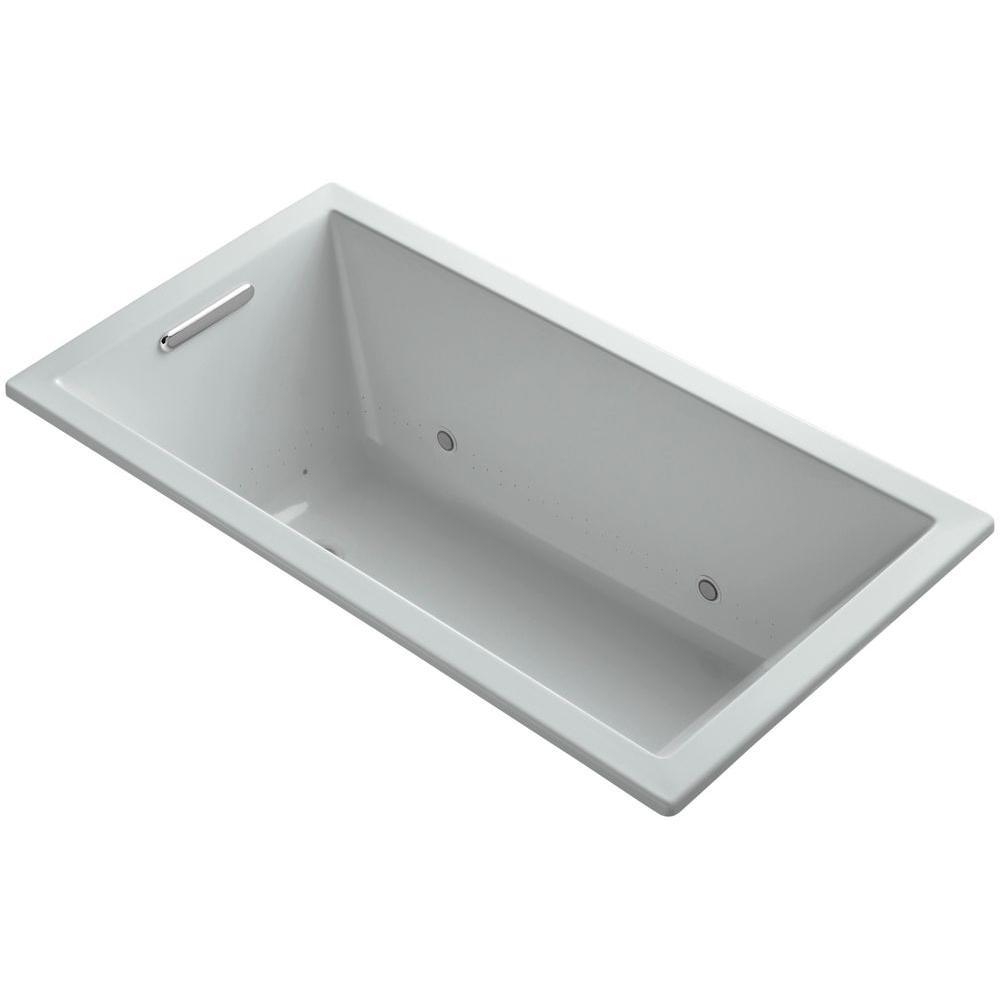 KOHLER Underscore 5 ft. BubbleMassage Air Bath Tub in Ice Grey-K ...