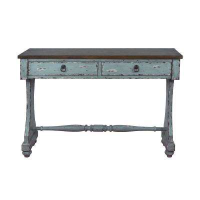 Distressed River Blue 2-Drawer Entryway Console Table