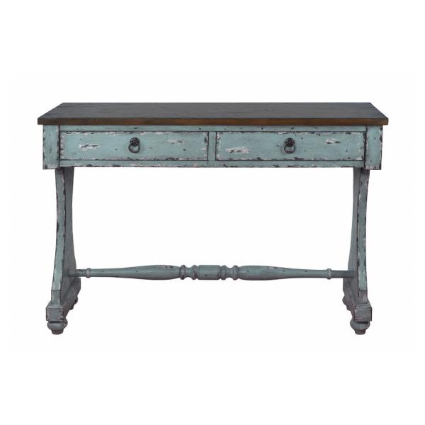 HomeFare Distressed River Blue 2-Drawer Entryway Console Table DS-D229-100