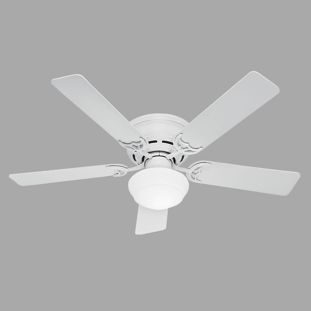 Hunter Low Profile Iii Plus 52 In Indoor White Ceiling Fan With Light Kit