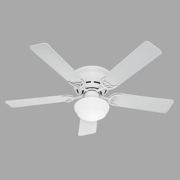 Low Profile III Plus 52 in. Indoor White Ceiling Fan with Light Kit Bundled with Handheld Remote Control