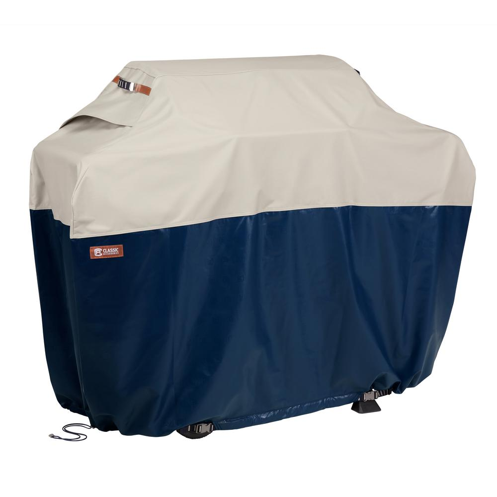 Classic Accessories Classic Accessories Mainland 64 in. L x 24 in. W x 48 in. H Fog/Navy BBQ Grill Cover
