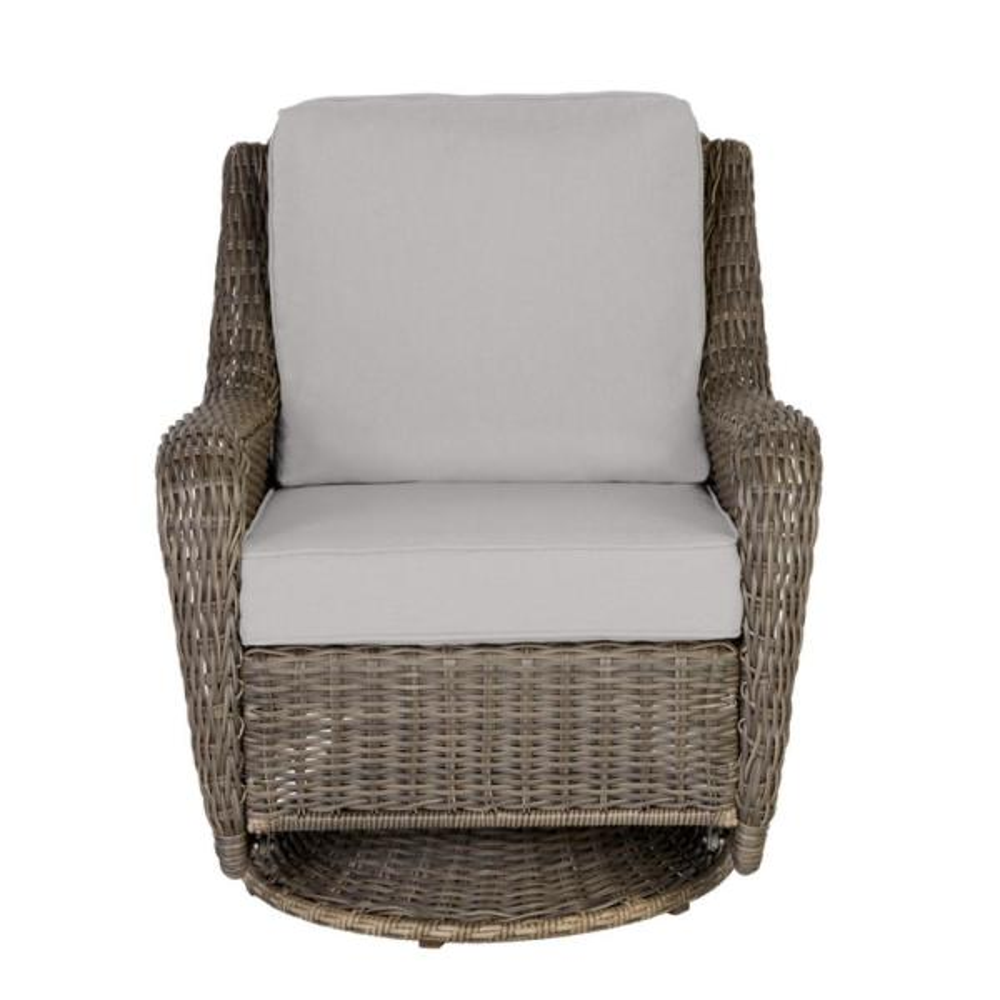 Hampton Bay Cambridge Gray Wicker, Outdoor Patio Furniture With Swivel Rocker Chairs