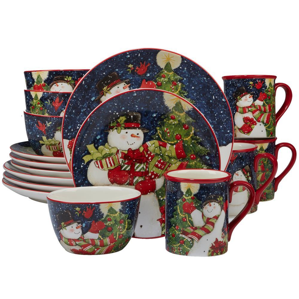 Starry Night Snowman by Susan Winget 16-Piece Dinnerware Set
