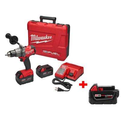 M18 FUEL 18-Volt Lithium-Ion Brushless 1/2 in. Cordless Drill/Driver Kit with Free M18 18-Volt XC 5.0Ah Battery