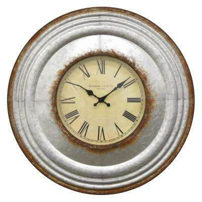 24 in. Dia Gray Metal Wall Clock