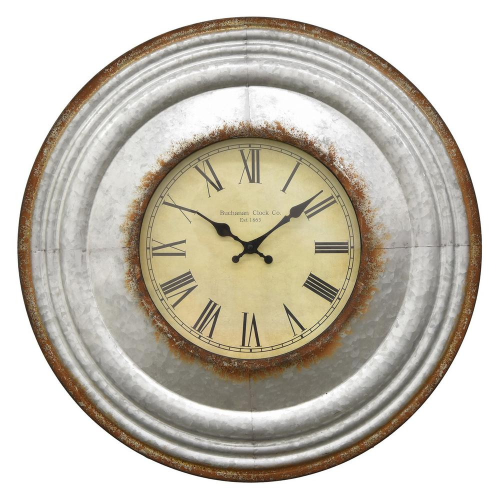 THREE HANDS 24 in. Dia Metal Wall Clock in Gray-56878 - The Home Depot