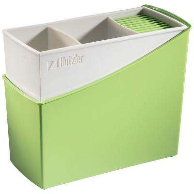 Cutlery Drainer / Flatware Caddy with Knife Slots in Green