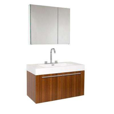 Vista 36 in. Vanity in Teak with Acrylic Vanity Top in White with White Basin and Mirrored Medicine Cabinet