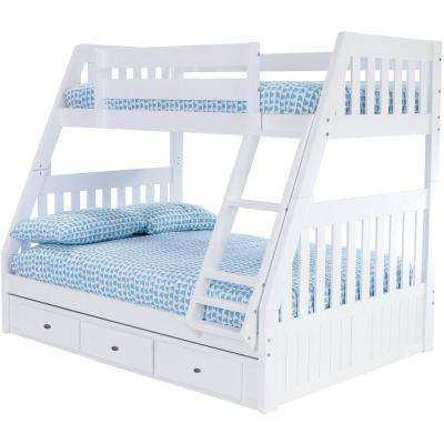 Casual White Collection White Twin OverFull Bunk Bed with 3-Underbed Drawers