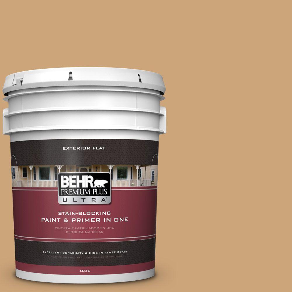 BEHR Premium Plus Ultra Home Decorators Collection 5-gal. #HDC-AC-13 Butter Nut Flat Exterior Paint