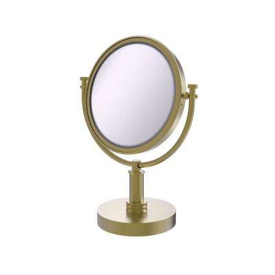 8 in. x 15 in. Vanity Top Make-Up Mirror 5x Magnification in Satin Brass