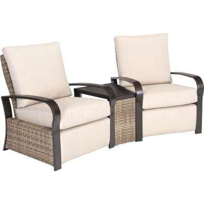 Dalton Park 3-Piece Aluminum Patio Conversation Set with Sunbrella Flax Cushions