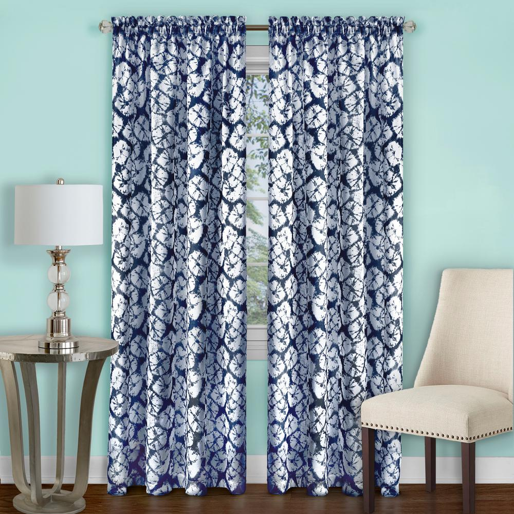 Achim Batik Navy Polyester Rod Pocket Curtain