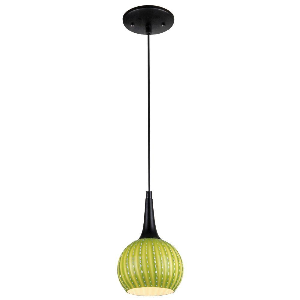 Westinghouse 1-Light Black Adjustable Mini Pendant with Hand-Blown Green Glass Shade