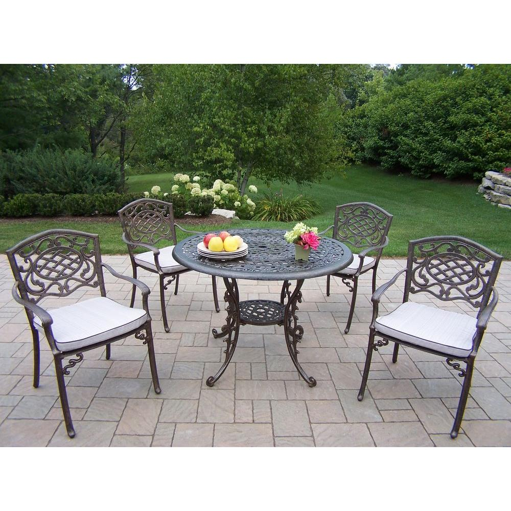 Oakland Living Mississippi 5-Piece Patio Dining Set with Fully Welded Chairs and Cushions