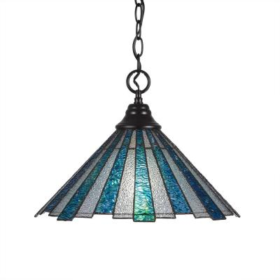 1-Light Matte Black Pendant with 16 in. Sea Ice TiffGlass Glass