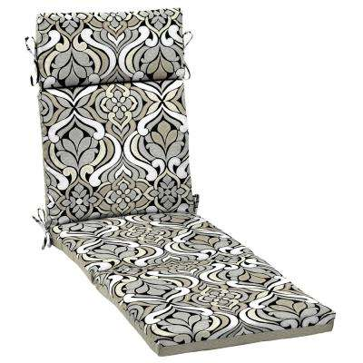 Black and Gray Tile Outdoor Chaise Lounge Cushion
