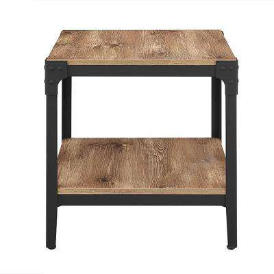 Angle Iron Barnwood End Table (Set of 2)