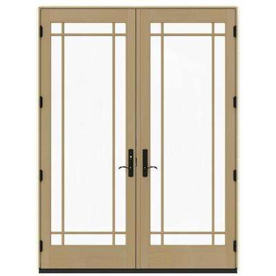 72 in. x 96 in. W-4500 Vanilla Clad Wood Right-Hand 9 Lite French Patio Door w/Unfinished Interior