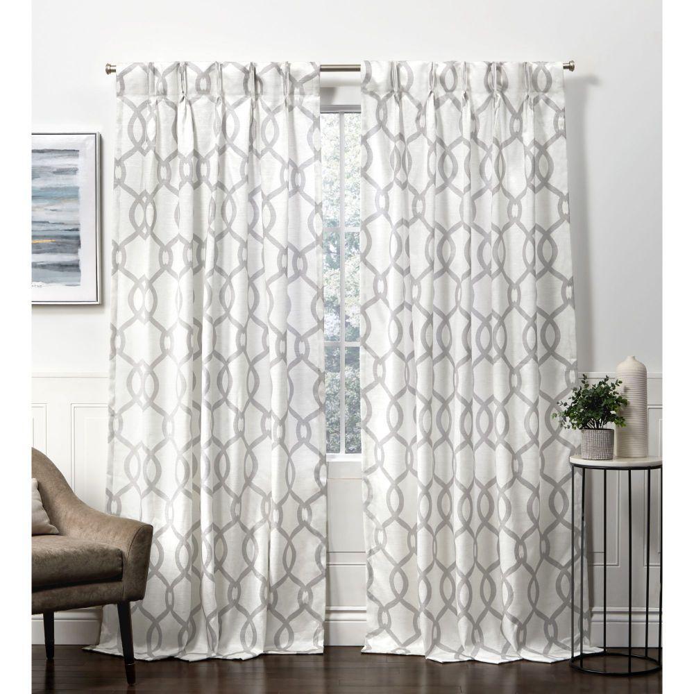 Kochi Dove Grey Room Darkening Triple Pinch Pleat Top Curtain Panel - 27 in. W x 84 in. L  (2-Panel)