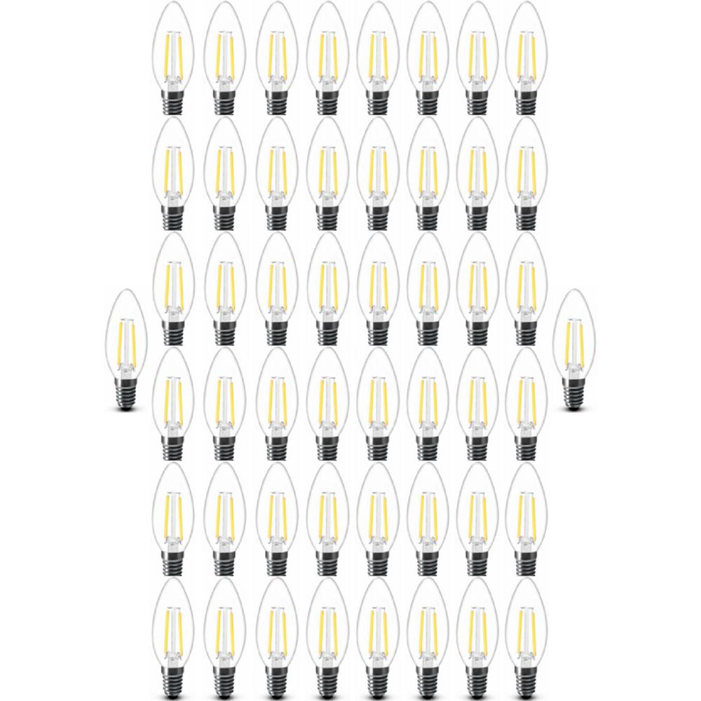 Simply Conserve 40 Watt Equivalent B11 Filament Candelabra Dimmable Warm White 15 000 Hour Led Light Bulb 50 Pack