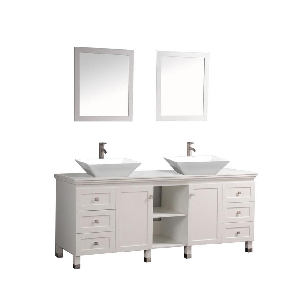 MTD Vanities 72 in. W x 22 in. D x 37 in. H Vanity in White with Micro Stone Vanity Top in White with White Basins and Mirrors