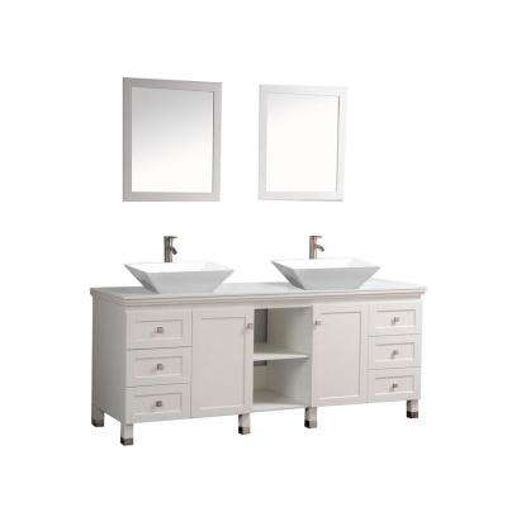 72 in. W x 22 in. D x 37 in. H Vanity in White with Micro Stone Vanity Top in White with White Basins and Mirrors