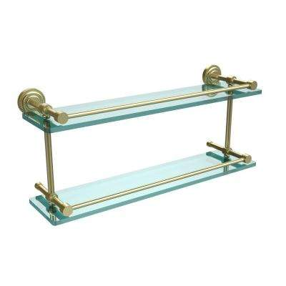 Dottingham 22 in. L  x 8 in. H  x 5 in. W 2-Tier Clear Glass Bathroom Shelf with Gallery Rail in Satin Brass
