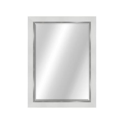 2-Toned 22 in. x 28 in. Value Core White/Silver Framed Vanity Mirror