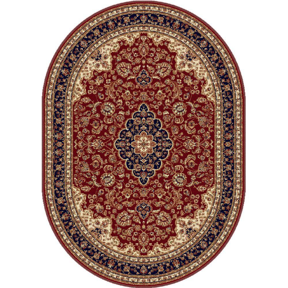 Tayse Rugs Sensation Red 5 ft. 3 in. x 7 ft. 3 in. Oval Traditional Area Rug