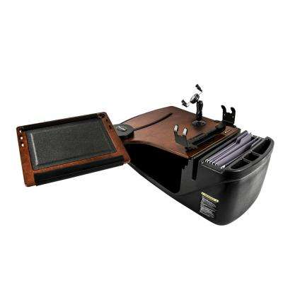 Reach Desk Front Seat Mahogany with Built-In Power Inverter Printer Stand and Phone Mount