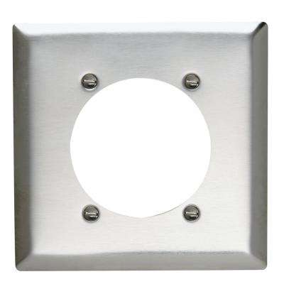 302 Series 2-Gang 2.468 in. Hole Power Outlet Wall Plate in Stainless Steel