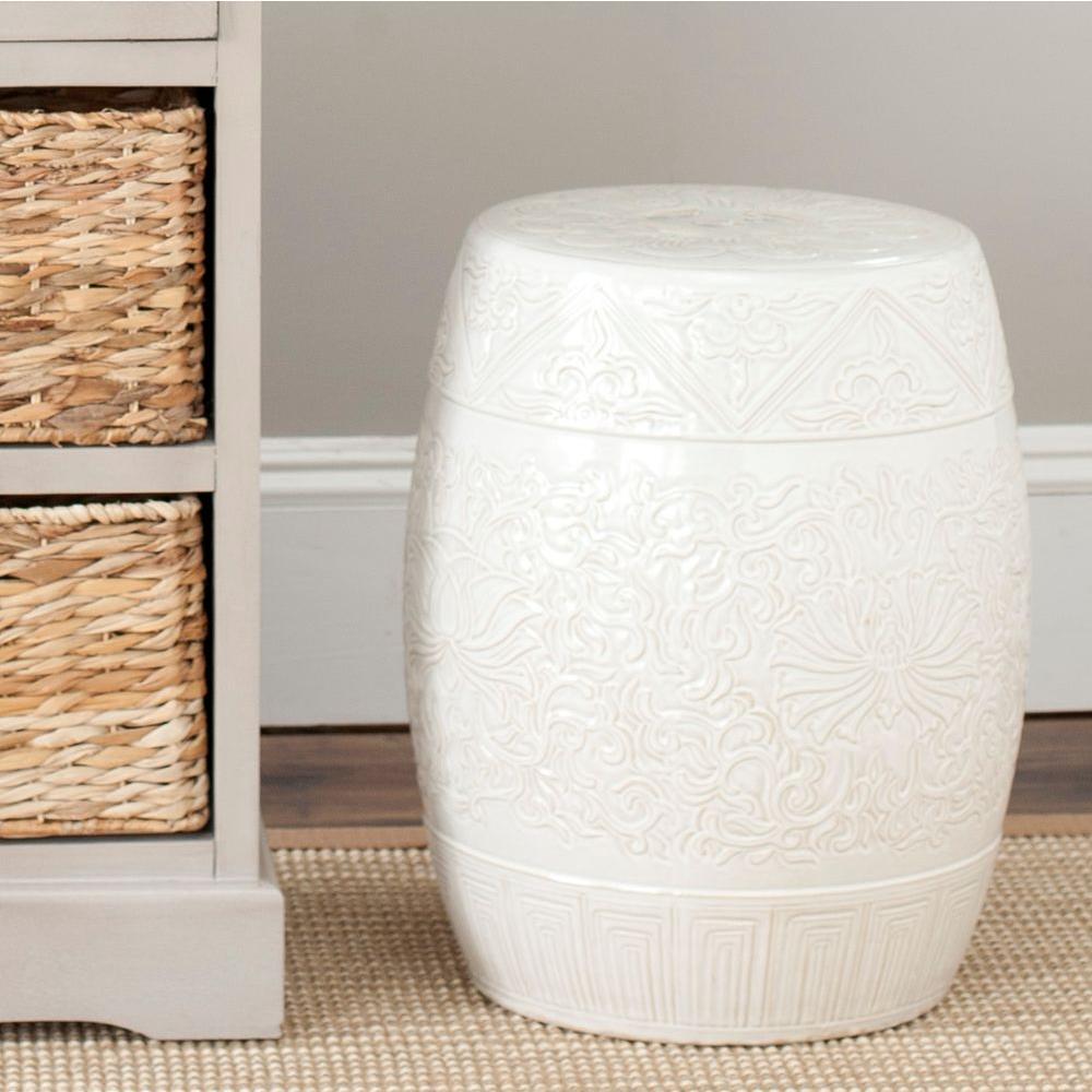 Charming Safavieh Lotus Off White Ceramic Patio Stool