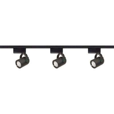 3-Light MR16 Round Back Low Voltage Black Track Lighting Kit
