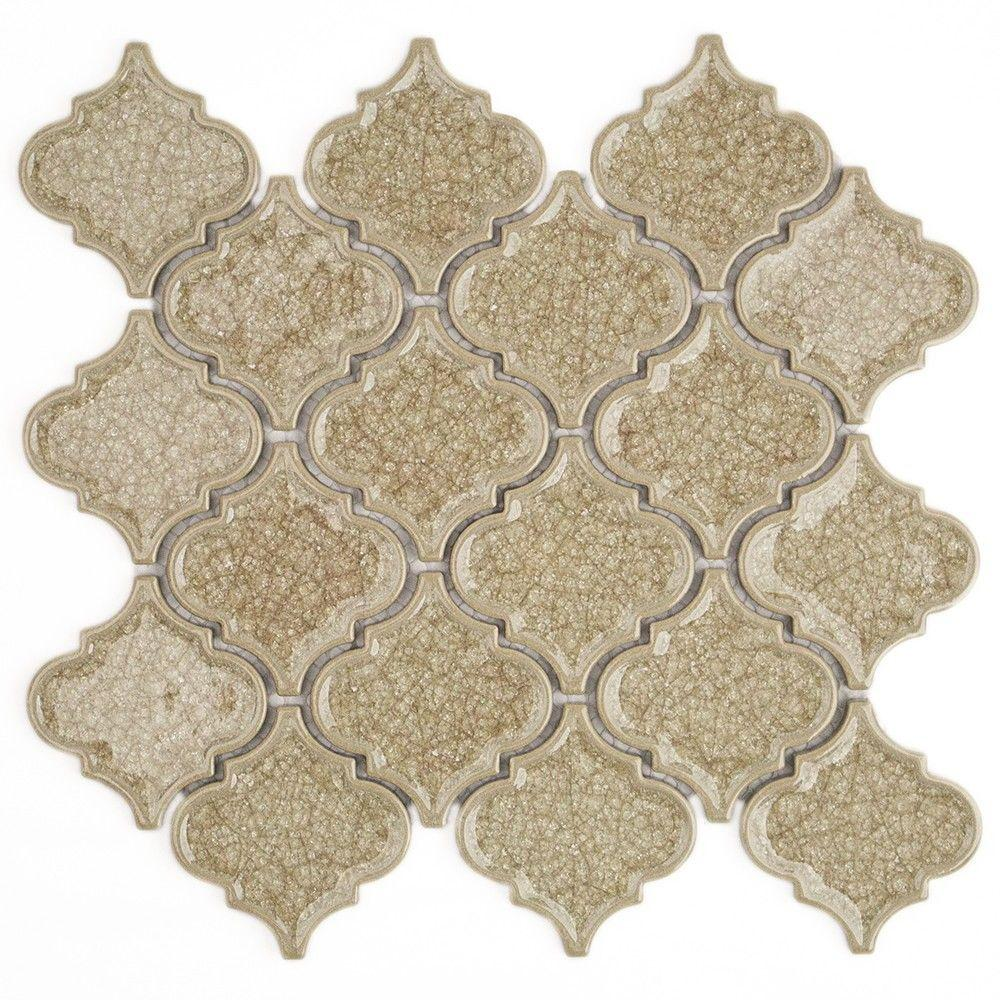 Ivy Hill Tile Roman Selection Raw Ginger Lantern 9-3/4 in. x 10-1/2 in. x 8 mm Glass Mosaic Tile