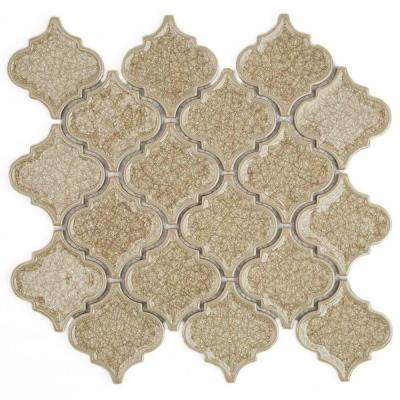 Roman Selection Raw Ginger Lantern 9-3/4 in. x 10-1/2 in. x 8 mm Glass Mosaic Tile