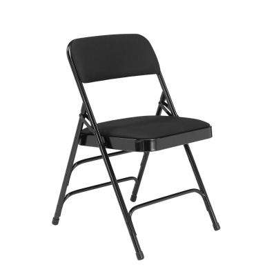 Black Fabric Padded Seat Stackable Folding Chair (Set of 4)