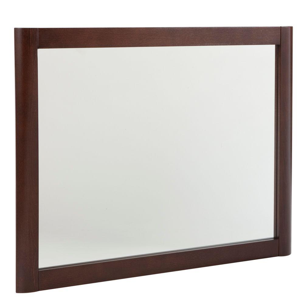 Home Decorators Collection Madeline 31.4 in. W x 25.7 in. H Framed Wall Mirror in Chestnut