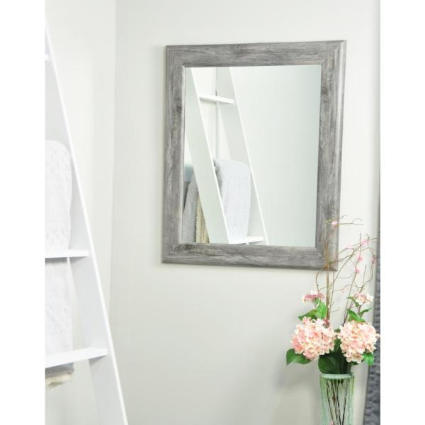 Weathered 33 in. W x 42 in. H Framed Rectangular Bathroom Vanity Mirror in Weathered Gray