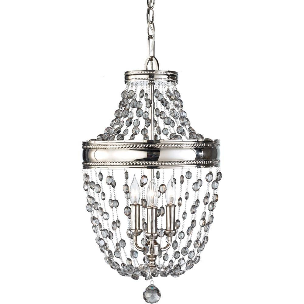 Hampton bay 3 light white mini chandelier with crystal drops and malia 3 light polished nickel mini chandelier aloadofball Image collections