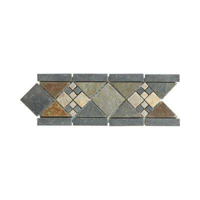 Yacht Harbor 4 in. x 12 in. x 8 mm Slate Accent and Strip Wall Tile
