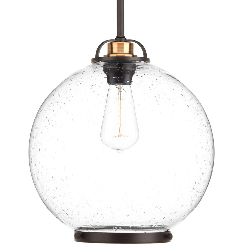 Progress Lighting Chronicle Collection 1 Light Antique Bronze Pendant With Clear Seeded Gl