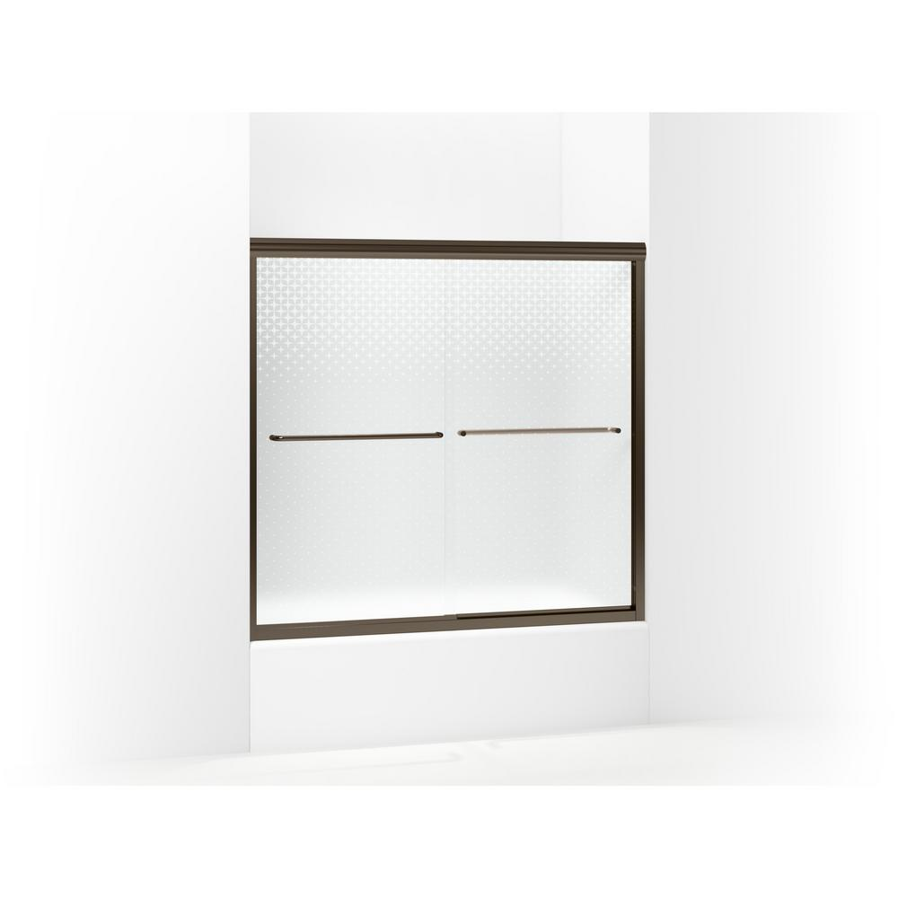 STERLING Finesse 59-5/8 in. x 55-3/4 in. Semi-Frameless Sliding Shower Door in Starscape Deep Bronze with Handle
