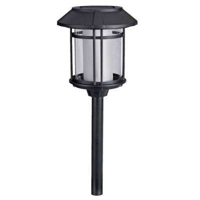 Solar Black LED Outdoor Post Light 35 Lumens with Double Glass (4-Pack)
