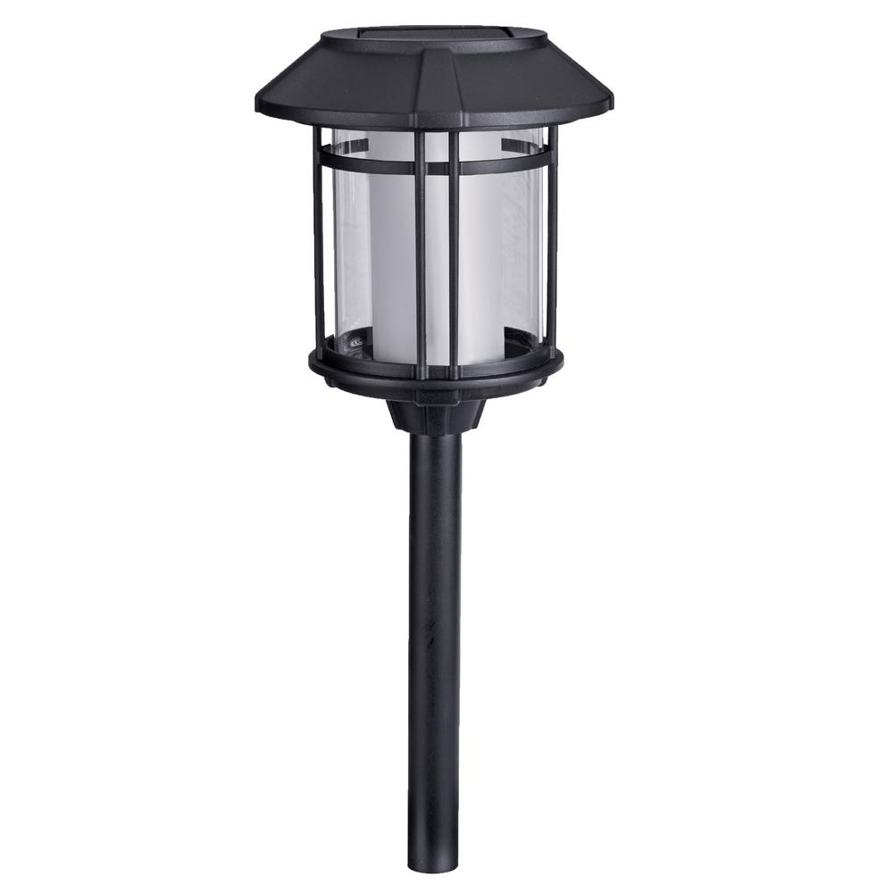 hamptonbay Hampton Bay Solar Black LED Outdoor Post Light 35 Lumens with Double Glass (4-Pack)