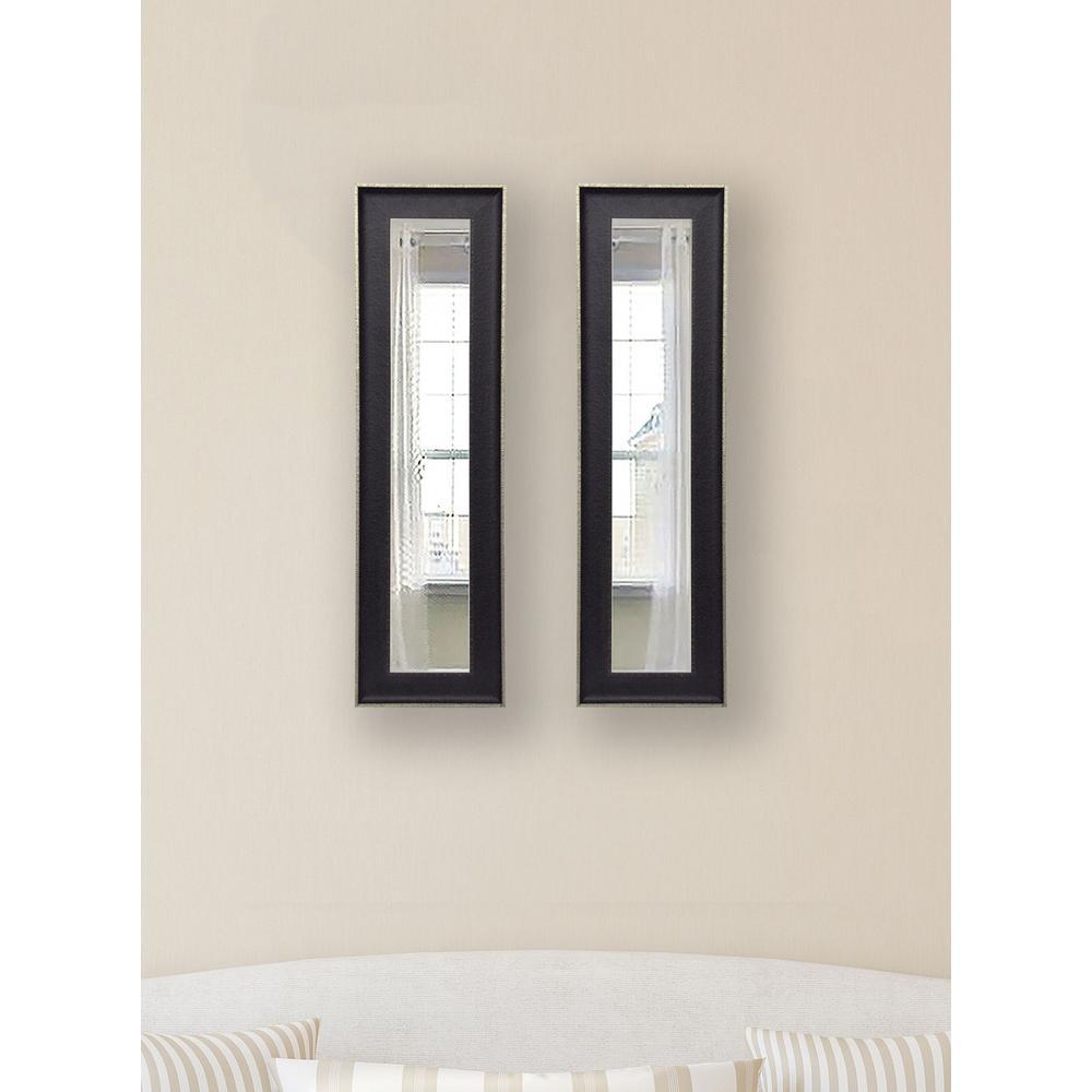 9.5 in. x 27.5 in. Vintage Black Vanity Mirror (Set of 2-Panels)