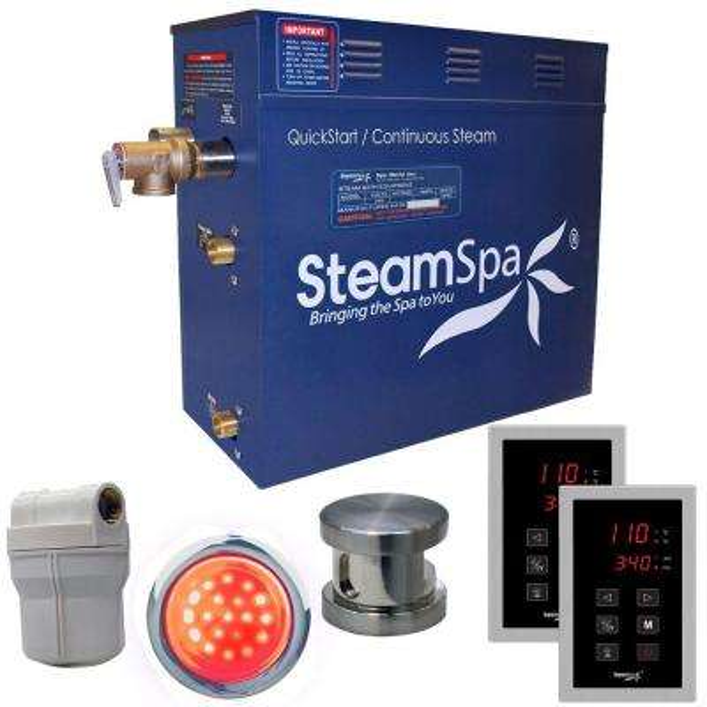 Royal 6kW QuickStart Steam Bath Generator Package in Polished Brushed Nickel